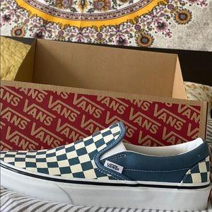 Blue checkered Vans women's size 8